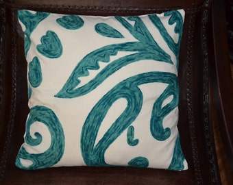 "18x18"", One Throw Pillow Cover, Floral pattern, teal, embroidery,"