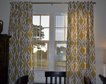 One Pair of Custom Made Curtains or Drapes, 50 x 84 inches, pleated rod top, Duralee Bokara in Yellow