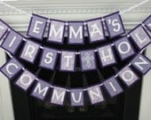 personalized first holy communion banner for girl - example of purple and white