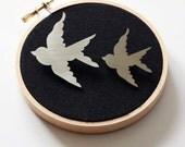 SALE! - Stainless steel brooch, brooch set, bird brooch, swallow brooch, animal brooch, handmade brooch