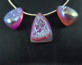 Agate Druzy coated calibrated  cabochon rainbow multi firing color really amazing 3 PC of sets