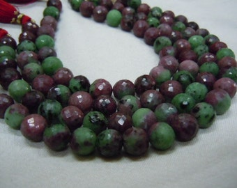 Ruby Zoisite Gemstone Faceted Round Ball Beads AAA Quality 8''  Size 8 mm to 10mm  approx Wholesale Price