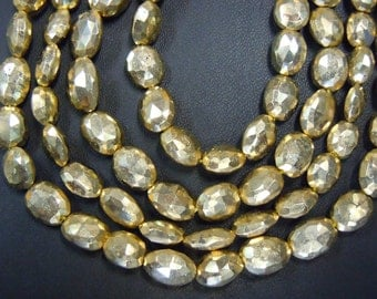 Pyrite Oval Faceted Beads  Gold Coated AAA Quality 10 Strands 8 inches  Size 6 To 8MM Long Approx Wholesale Price s