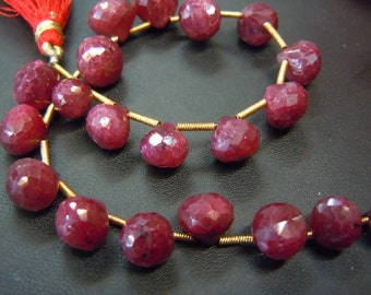 Ruby Corundum Briolette Faceted Onion Drops AAA Quality Gemstone  Size - 8mm to10mm Approx 8 Inches -  Wholesale Price
