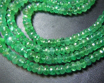 Emerald  Colombian Faceted Rondelle beads Size 2MM To 4MM  15 Inches Top Quality AAA Wholesale