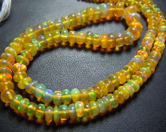 Ethiopian Opal Smooth Rondelle Beads AAA Quality size 4mm to 6 mm approx Wholesale Price