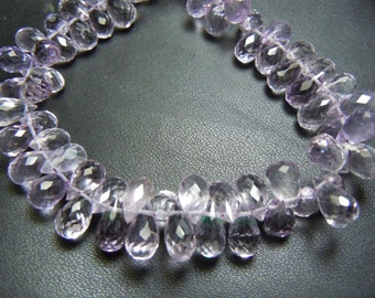 Pink Amethyst Faceted Briolette Tear Drops Size 5MM To 6MM  8 Inches Top Quality Approx Wholesale Price