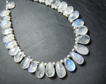 Rainbow Moonstone Briolette Smooth PEar Drops AA Quality 7''Size 5x7MM Approx Wholesale