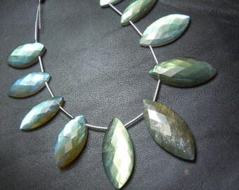labradorite Briolette Faceted  Marquise  AAA Quality  size- 6x12-12x24mm 8 inches-11pc  top grade Golden fire width
