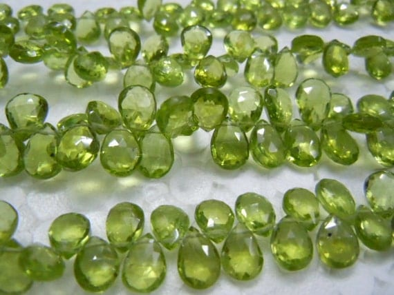 PeridotBriolette Faceted Pear Drops Size 6x9MM 8 Inches -40Pc -Top Quality Green 100% Natural Gemstone