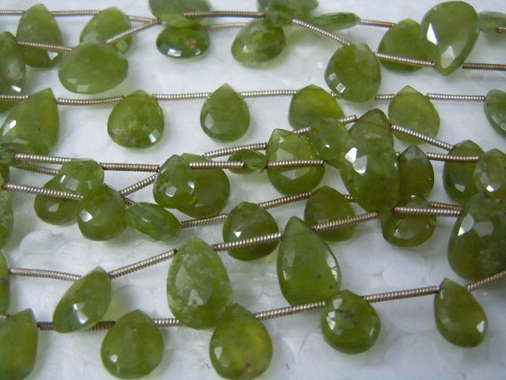 8 Inches -- AAAA - Very Very Finest-- Apple Green Vessonite Faceted Pear Briolettes - Size 10x12mm Approx