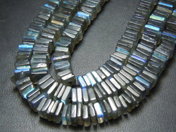 Labradorite Cube Heishi  Smooth Beads Gemstone 10 inches AAA Quality Blue Fire  wholesale price