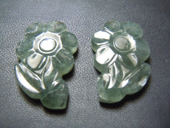Gary Tourmaline Gemstone Carving Flower Pair AAA Quality Size -16x26MM  Wholesale Price