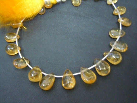8 Inches Gorgeous Golden Citrine Quartz Smooth Briolette Pear Drops Size- 5MM To 9 MM Approx