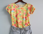 S A L E was 15.00 Vintage 90s Pastel Printed Retro Semi Cropped Top