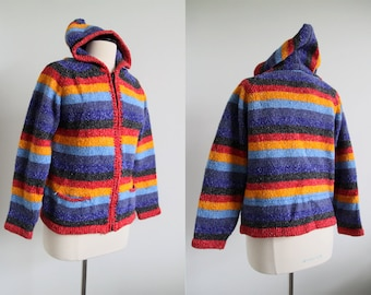 S A L E was 15.00 Vintage 90s Striped Multicolored Hooded Sweater Coat