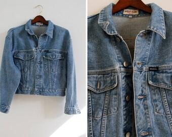SALE was 150.00 Vintage 80s Original GUESS Americana Semi Cropped Denim Slouchy Jacket M