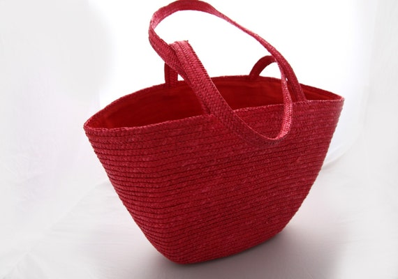 Handmade RED Large Woven Straw Tote