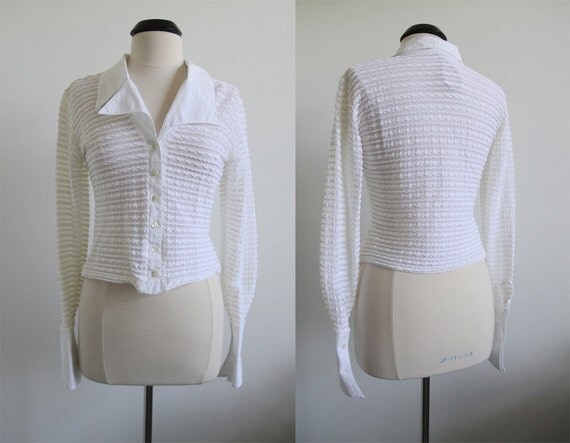 SALE was 15.00 Vintage FRENCH Longsleeves Sheer Button down Cropped Shirt L