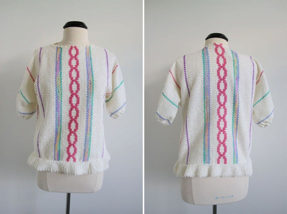 S A L E was 15.00 Vintage 70s Chenille Sweater/Blouse Pullover Dolman Sleeves