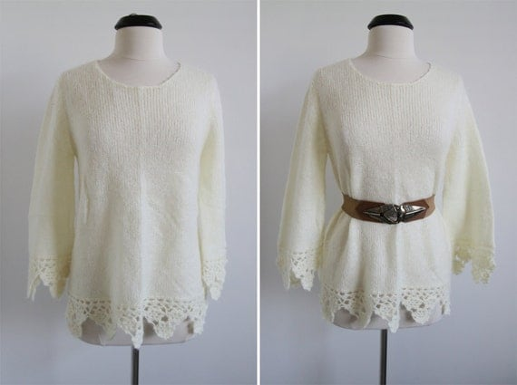 reserved for Athena Vintage 80s Lemony Crocheted Trims Pullover Sweater/Blouse