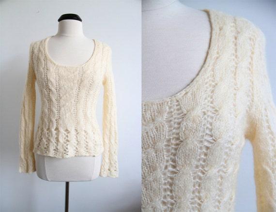 Vintage 90s Mohair/Wool Crochet Accent Deep Scoop Neck Sweater Top
