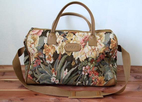 Vintage Adolfo Tapestry Weekender Luggage Large Beautiful