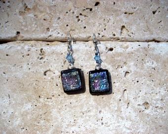Glittering Beauties fused glass & dichroic earrings