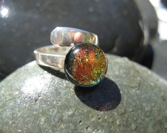 Amber Flame adjustable fused glass & dichroic ring