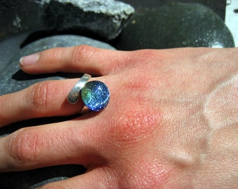 Misty Blues fused glass & dichroic adjustable ring
