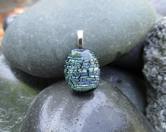 Glittering fused glass & dichroic pendant