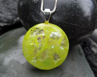 Lemon drop fused glass & dichroic pendant