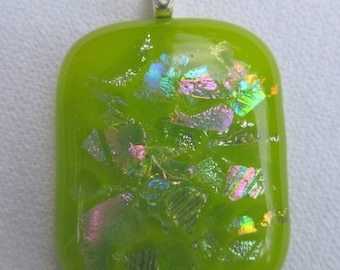 Lime green fused glass & dichroic pendant