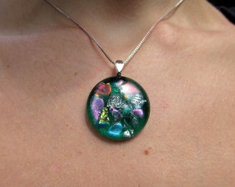 Fused glass & dichroic pendant