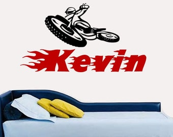 Motorcross Motorcycle Personalized Vinyl Wall Decals with Name - 2 Color