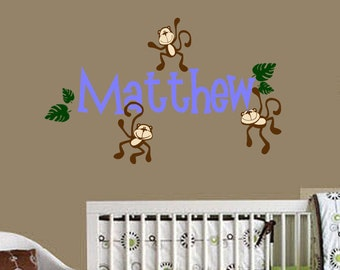 Monkeys Hanging with Name Vinyl Wall Decals Nursery Room Decor