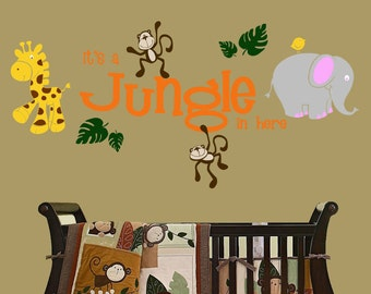 Is a Jungle in Here with Jungle Friends Vinyl Wall Decal Nursey Kids Room Decor