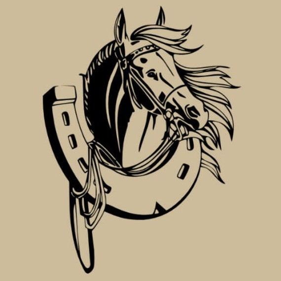 Wall Art Horse Decals : Items similar to horse and horseshoe wall decal art on etsy