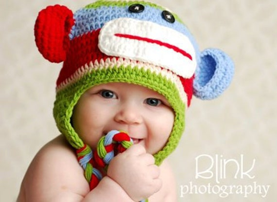FREE SHIPPING REaDY To SHIp Boy Multi Color Striped Sock MOnkey HAt Beanie 12-24 2t month