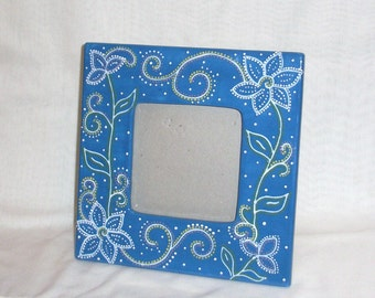 Picture Frame - Blue - Flowers and Swirls - hand painted Ceramic