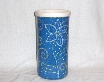 Ceramic Wine Cooler/Holder, Vase - Hand Painted - Blue - Flowers & Swirls