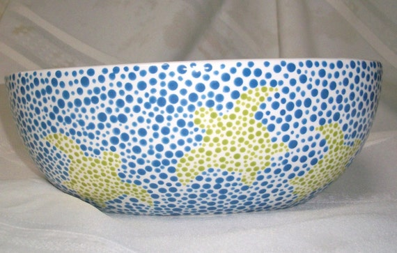 Ceramic Oval Serving Bowl - Sea Turtles- Blue, Green - Dots - Hand Painted