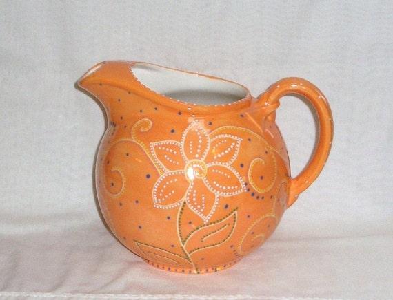 Ceramic Pitcher Hand-painted - Orange -  flowers and swirls