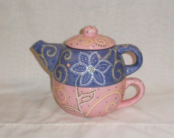 Ceramic Teapot for One, Cup - Lavender & Pink - Flowers and Swirls