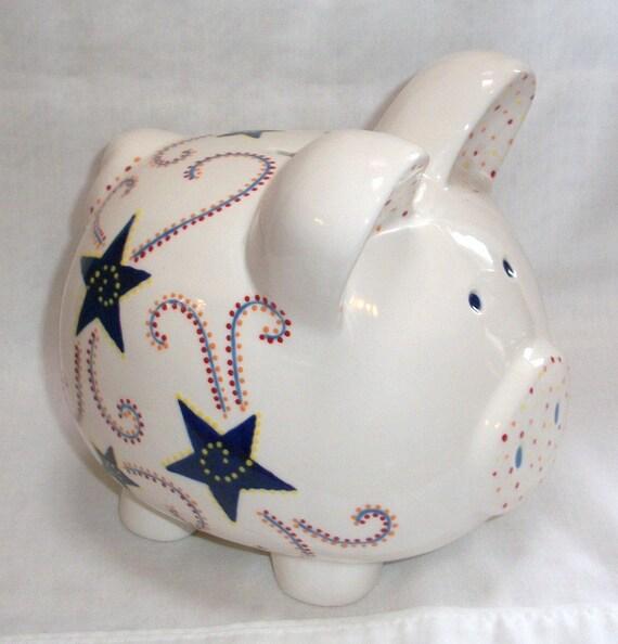 Hand painted ceramic piggy bank baby boy personalized - Ceramic piggy banks for boys ...