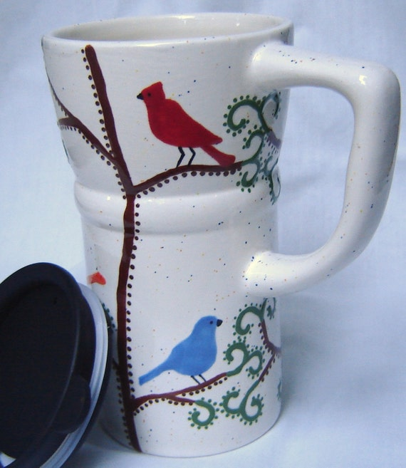 Ceramic Coffee Travel Mug  w/ lid- Birds and Swirls