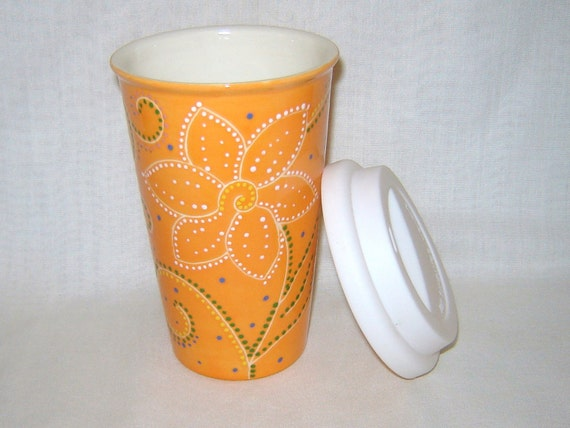 Ceramic Coffee Travel Mug w/lid - Orange - Flower and Swirls