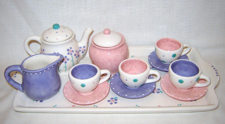 ceramic little girls child tea set flowers pink lavender. Black Bedroom Furniture Sets. Home Design Ideas