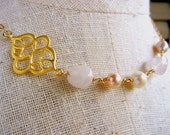 Gold Pearl & Quartz BLISS Beaded Necklace by E. Ria Designs Jewelry