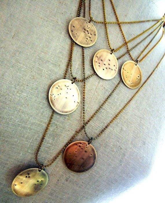 Zodiac Constellation Necklace | Constellation Pendant | Zodiac Jewelry | Choose Your Sign | Aquarius Brass Necklace | Eriadesignsjewelry